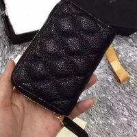 Wholesale striped felt resale online - 69271 Women Genuine Black Lambskin Caviar Leather Coin Purse Small Purse With Zipper Card ID Holders