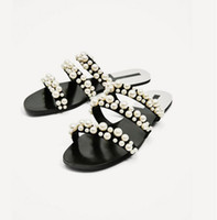 Wholesale Beach Sexy Cloth - 2017 Summer new arrival high quality elegant classic luxury brand Sexy Genuine Leather Casual Pearl Beach Art women sandals