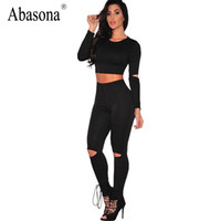 Wholesale Bodycon Set Wholesale - Wholesale- Unique Design Sexy 2 Piece Set Fitness Bodycon Women Jumpsuit Hole Sleeve Cut out Knee Fashion Bodysuit O neck Skinny Jumpsuit