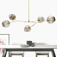 Wholesale Hall Trees - Lindsey Adelman Chandeliers Lighting Modern Globe Glass Bubble Pendant Lamp Natural Tree Branch Suspension Light Hotel Dinning Room Light