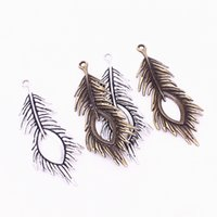 Wholesale Jewelry Made Feathers - Sweet Bell Min order 10pcs 28*71mm two color Metal Zinc Alloy Trendy Peacock Feathers Charms Findings Pendants Jewelry Making D1209