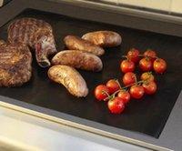 pique-nique achat en gros de-Réutilisable sans bâton barbecue rôti mat feuille de feuille portable facile propre outdoor pique-nique cuisson barbecue outil, noir et jaune
