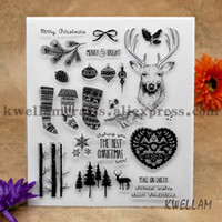 Wholesale Deer Stamp - Wholesale- Scrapbook DIY photo cards account rubber stamp clear stamp transparent stamp Deer head Christmas sock tree ball 21x24cm KW642021