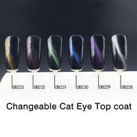 Wholesale Cat Stamping Nail - Wholesale- MONASI Fashion Nail Design Cat's-eye Top Coat Nail Gel Polish Stamping Glitter Color UV LED Lamp Cat Eye Top Coat Gel Nail Kit