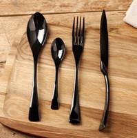 ingrosso set da pranzo nero-Set di stoviglie nuovo set di stoviglie in acciaio inox nero di alta qualità in acciaio inox coltello da tavola e forchetta e zuppa caffè cucchiaio cucchiaino posate h122