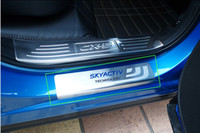 paslanmaz çelik kopçalar toptan satış-MAZDA CX5 CX5 2012 2013 için 4 adet / set Paslanmaz Çelik Kapı Eşiği itişme Plaka Eşiği Muhafız Hoşgeldin Pedallı