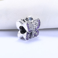 Wholesale Silver Plated Butterfly Charms Beads - Real 925 Sterling Silver Not Plated Purple Butterfly Beads CZ European Charm Bead Fit Pandora Snake Chain Bracelet DIY Jewelry
