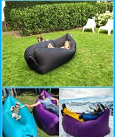 Wholesale Double Bag Chair - Fast Inflatable Camping Sofa Banana Sleeping Lazy Chair Bag Nylon Hangout Air Beach Bed Couch Lay Outdoor Sleep Fast Filling 11 Colors DHL