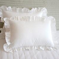 Wholesale Ruffle Pillow Case - Wholesale- Pillow Case 2pcs Fashion elegant ruffle pillow sham brief wrinkle handmade pillowcase bedding decorative pillowcases princess b