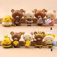 Carino 5 pz Giappone Rilakkuma Orso Cartoon Action Figures Anime figurine Playset Toy Cake Topper Decorazione bambole animali Figura regalo