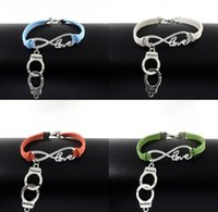 Wholesale women velvet sport sets - 10pcs Vintage Silver Love Infinity Handcuffs Charms Bracelets Bangle For Women Mixed Color Velvet Rope Bracelet Jewelry Gifts Accessories