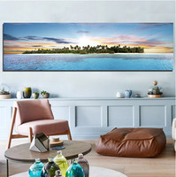 Wholesale Sunrise Canvas Painting - The Island At Sunrise In The Sea Frameless Landscape Painting
