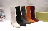 Wholesale Popular Female Model - female Half Boots women Sexy popular Fashion boots Special shaped heel Pointed toe woan boot size 35-40 model 172720456
