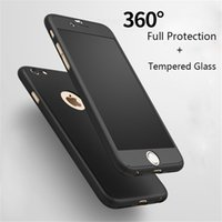 Wholesale Handbag Glasses - For iphone 7 6 6S 6plus Luxury Full Body Protect Hard Slim Utra Thin Case Cover Tempered Glass For iPhone6 Plus