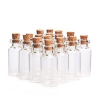 Wholesale wood cork glass vial - 5ml Cork Wood Mini Glass Bottles Plastic Stopper Small Bottle Vial Jars Pendants Craftwork Drift Bottle Storage Craft F2017829