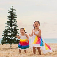 Wholesale Summer Rainbow Beach Dress - Ins 2017 Summer New Girl Dress Rainbow Cotton Beach Dress Beautiful Slip Dress Children Clothing 2-7Y YB001