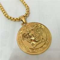 Wholesale Mens Diamond Jewelry - Full Diamond Medusa Pendant Necklaces For Mens Brand Design Gold Plated Hip-hop Jewelry Wholesale 2017 Hot Sale