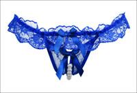 pérolas de cueca venda por atacado-Mulheres Tangas e Cordas G Pérolas Crotch Inferior Menos Sexy Calcinha Sexy Underwear Lace Bow Transparente Briefs