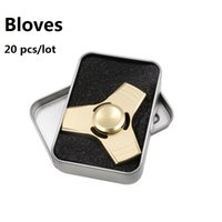 Wholesale 20 pieces Gift Boxes Bloves D Gold Metal UFO Wheel Finger Anti Stress Tri Spinner Fidget Hand Spinner Toys Puzzle Kids Top