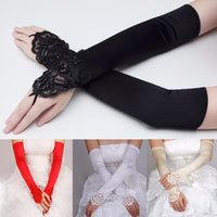 Wholesale Hand Gloves For Wedding - Black & White Ivory White Red Long Wedding Gloves Hand Fingerless For Brides Girl Bridal Gloves Satin Pearl Women