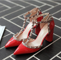 Wholesale Chunky Heel Ivory Wedding Shoes - New Summer Sandals Female Pumps Fashion Pointed T Strap Rivet Side Empty Sexy Thick Heel Shoes Women High Heels Shoes