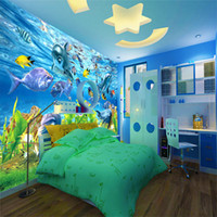 Wholesale underwater 3d mural waterproof wallpapers fireproof resale online - D custom wallpaper underwater world marine fish mural children room TV backdrop aquarium wallpaper mural