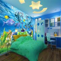 cuarto marino al por mayor-Envío gratis 3D fondo de pantalla personalizado mundo submarino pescado marino mural habitación de los niños TV telón de fondo del acuario wallpaper mural