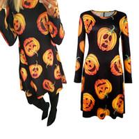 Wholesale Crow Pumpkin - Fashion Summer Autumn Casual Dress Vestidos Pumpkin Print Women Sexy Long Sleeve Party Halloween Clothes Dress