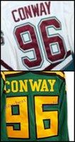 venta al por mayor al por mayor-Venta al por mayor Anaheim Ducks Jersey # 96 Charlie Conway Jersey Mighty Ducks Movie 1993-94 Hockey sobre hielo Jerseys baratos blanco verde