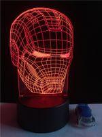 Wholesale Home Deco Candle - Iron Man LED Table Lamp 3D optical illusion Night Light Transparent Acrylic Deco Veilleuse Enfant Home Bulbing nightlamp