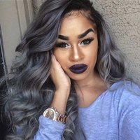Wholesale grey hair fashion wigs for sale - Group buy Handmade Fashion women density Synthetic Ombre Grey Lace Front Wig body Wavy Women Grey color Heat Resistant Hair Wigs