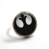 Wholesale Alliances Rings - 10pcs lot Star Wars Rebel Alliance Glass Ring Glass Cabochon Ring