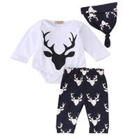 Wholesale Spring Boys 3pc Sets - INS Baby Long sleeved Xmas white deer 3pc set boys girls christmas romper tops & owl floarl pants & hat best for 0-2years free ship