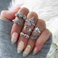 Wholesale Elephant Ring Gold White - Midi Rings Elephant Moon Flower Midi Finger Ring For Women 7Pcs  Set Vintage Knuckle Midi Rings