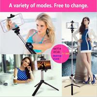 ausziehbare monopod funkfernbedienung großhandel-Stativhalterung Selfie-Stick Bluetooth 3-in-1 Selfie-Timer Einbeinstative Ausziehbarer, um 270 Grad drehbarer, tragbarer Bluetooth-Fernauslöser