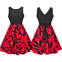 Sleeveless Patchwork Blätter Print Party Kleid Crew Neck Vintage New Fashion Bow Casual gefaltet ein Line Dress