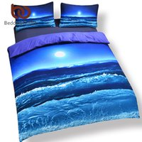 Wholesale Cotton Spreads - Wholesale-Hot Seller Moon And Ocean Bed Spread Cool 3D Print Bedlinen Soft Blue Bedding Set 3pcs Or 4pcs Twin Queen King
