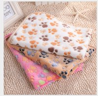 Wholesale Large Fleece Blankets Wholesale - 2017 Good Quality 76*52cm Double-sided Fleece Lovely Pet Small Large Warm Paw Print Dog Puppy Cat Fleece Soft Blanket Beds Mat