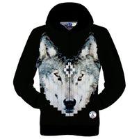 Wholesale Wolf Print Hoodies - Wholesale-New fashion 2015 women men's 3D novelty pullover hoodies print wolf Marcelo Burlon design hooded sweatshirt fall winter tops