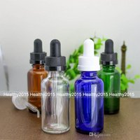 Wholesale Dropper Bottle Green Caps - Hot Selling e liquid essential oil 30ml clear amber green blue glass dropper bottles 30ml with black childproof cap and pipette
