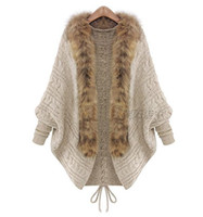 Wholesale Europe Winter Coat - New Fashion Fur Trim Sweater for Women Clothes Winter Loose Sweater Cardigan Europe High-end Lady Bat Sleeve Knit Coat Cape Poncho