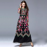 Wholesale Designer Dress Woman S - High Quality New Arrival 2017 Autumn Women's O Neck Long Sleeves Embroidery Designer Elegant Maxi Runway Dresses in 2 Colors