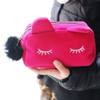 Wholesale Necessaries Makeup - Cartoon Cat Solid Color Makeup Bags Cat Design Cosmetic Make Up Organizer Bag Women Bag Cosmetics Necessaries