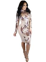 Wholesale Turtle Neck Backless Dress - Sexy Turtleneck Backless Long Sleeve Women Sequin Mini Dresses Patchwork Zippers Bodycon Sequinned Club Dress Vestidos