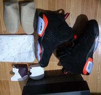 basketbol ayakkabıları us14 toptan satış-Kızılötesi 6 S VI Siyah Kızılötesi Siyah efsane mavi çimento Toptan Basketbol Ayakkabı Erkekler ücretsiz kargo