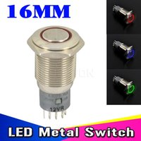 Wholesale waterproof push button switch led - Wholesale-New Waterproof metal switch for LED light IP67 12V DC 6A 125VAC 16mm LED Power Push Button Indicating Lamp Resetable type