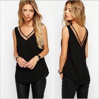 Wholesale Gauze T Shirt - The new Europe and the United States in the summer 2017 pure color v-neck gauze splicing chiffon vest T-shirt unlined upper garm