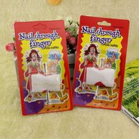 Wholesale april finger - April Fool's Day Nail Through Finger Props Toys Party Funny Fool Trick Toys Decoration Scary Nail Through Finger Tool