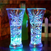 Wholesale Neon Crosses - Led Cup Flashing Shot Glass Led Plastic Luminous Neon Cup Birthday Party Night Bar Wedding Beverage Wine flash cup OTH406
