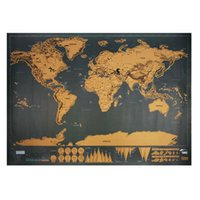 Scratch Map Travel 82.5X 59.5Cm Deluxe Traveler Scratch Off Personalizado World Map Poster Vintage Black Wall Sticker Home Decor